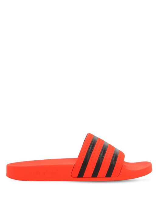 c7a48acba46c Adidas Originals - Red Adilette Rubber Slide Sandals for Men - Lyst ...