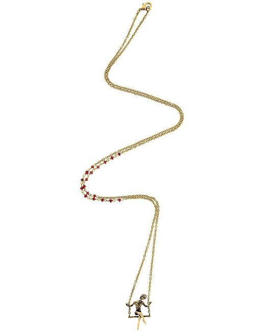 Alcozer & J - Metallic L'altalena Necklace With Garnets - Lyst