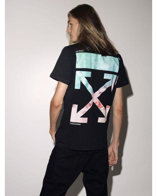 T-Shirt En Jersey De Coton Imprimé Marbré Off-White c/o Virgil Abloh pour homme en coloris Black