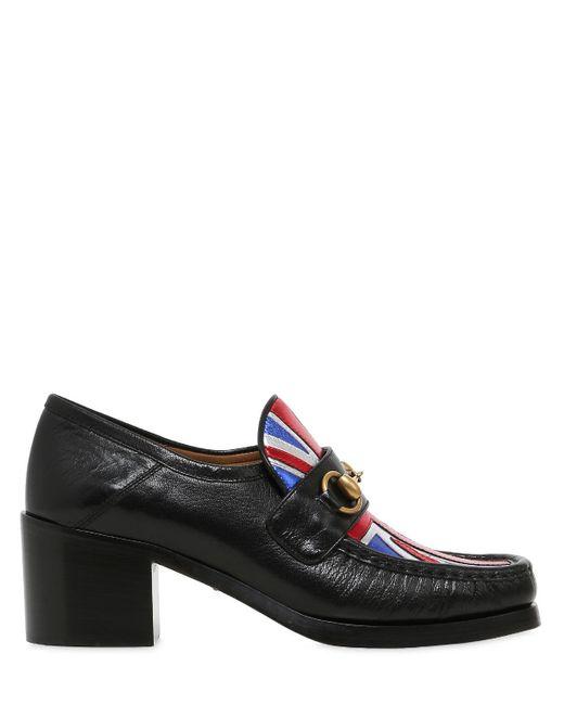 Gucci | Black Vegas Union Jack Horsebit Leather Pumps | Lyst