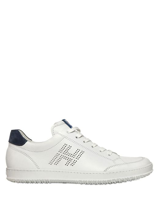 Hogan | White 20mm Perforated Leather Sneakers for Men | Lyst