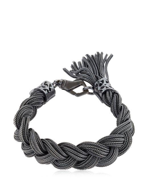 Emanuele Bicocchi   Black Medium Braided Sterling Silver Bracelet   Lyst