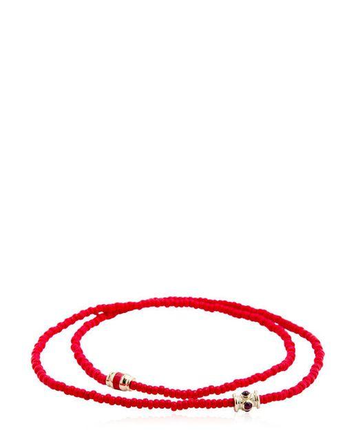 Luis Morais - Red Ruby Barrel Double Wrap Bracelet for Men - Lyst
