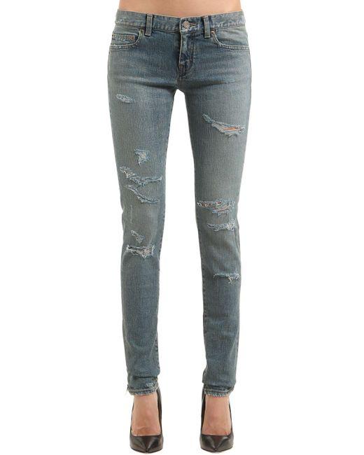 Saint Laurent | Gray 15cm Super Destroyed Stretch Denim Jeans | Lyst