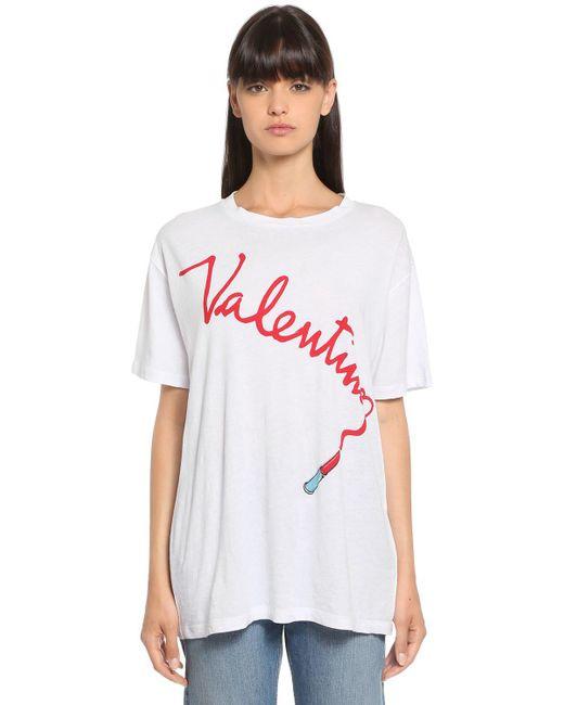 Valentino - White Lipstick Printed Cotton Jersey T-shirt - Lyst