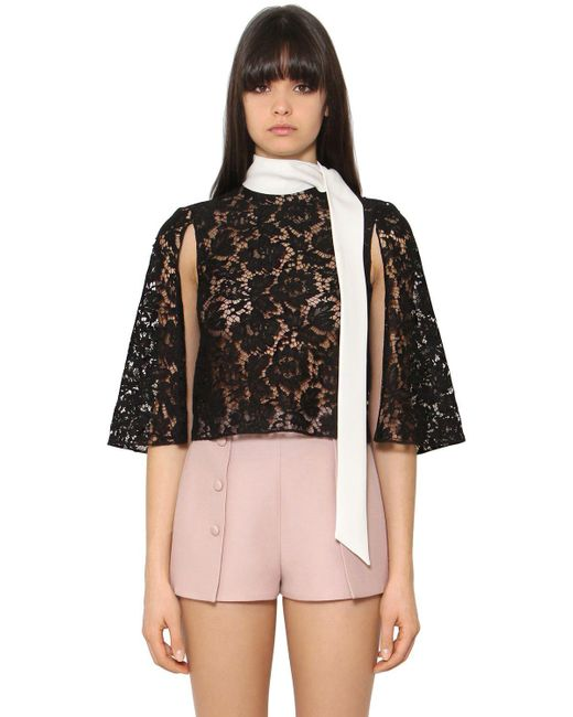 Valentino | Black Heavy Lace & Cady Cropped Cape Top | Lyst