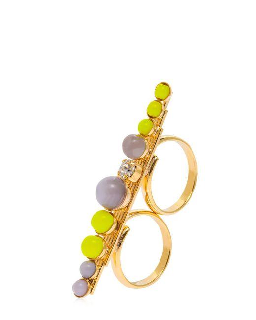 Anton Heunis - Yellow Color Block Double Finger Ring - Lyst