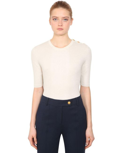 Tory Burch - White Short Sleeve Cashmere Knit Sweater - Lyst