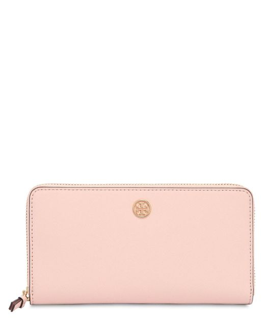 Tory Burch - Pink Robinson Leather Zip Around Wallet - Lyst