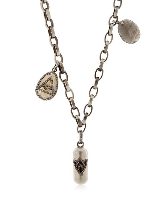 Jade Jagger - Metallic Silver & Diamond Necklace With Charms for Men - Lyst