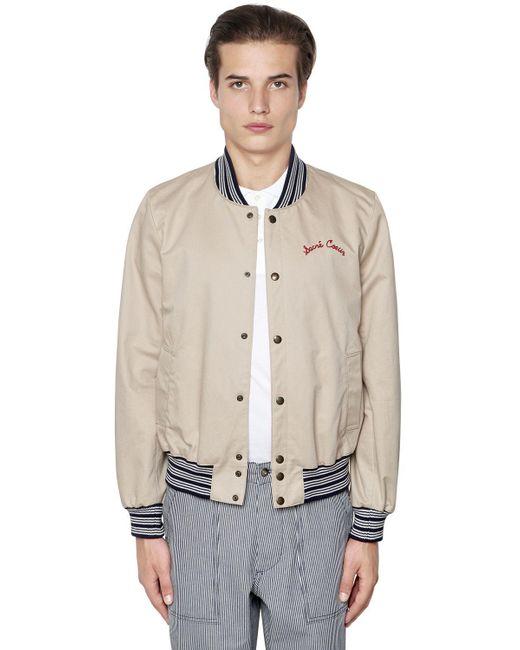 Maison Kitsuné | Natural Cotton Gabardine Bomber Jacket for Men | Lyst