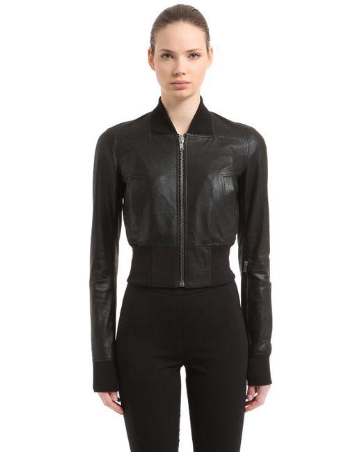 Rick Owens - Black Leather Bomber Jacket - Lyst
