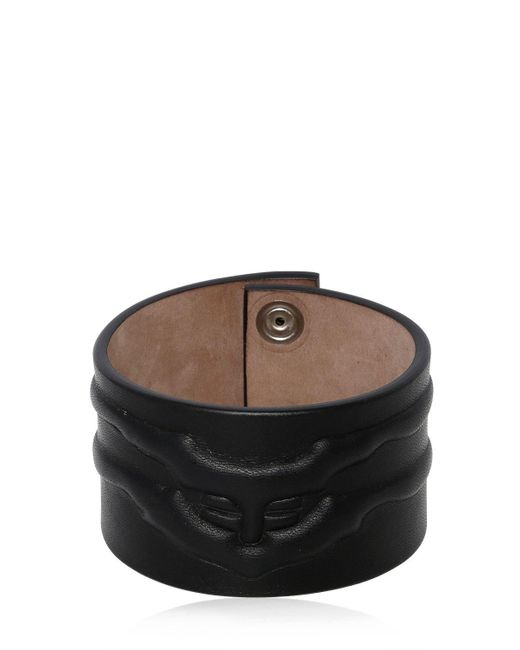 Alexander McQueen - Black Rib Cage Leather Bracelet - Lyst