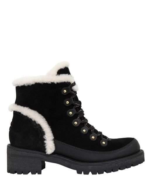 Tory Burch - Black 30mm Cooper Suede & Shearling Boots - Lyst
