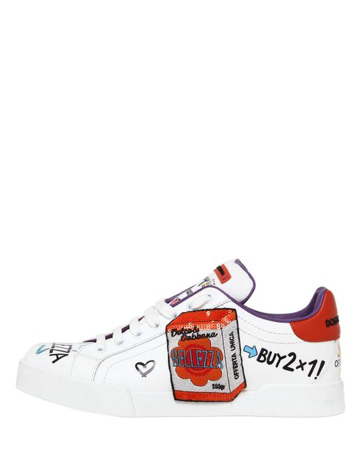 Dolce & Gabbana 20MM GRAFFITI & PATCHES LEATHER SNEAKERS eagcvbSN9