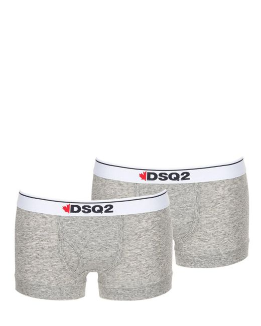 DSquared² - Gray Pack Of 2 Cotton Jersey Boxer Briefs for Men - Lyst