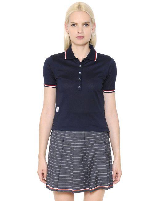 Thom Browne - Blue Cotton Piqué Polo Shirt - Lyst