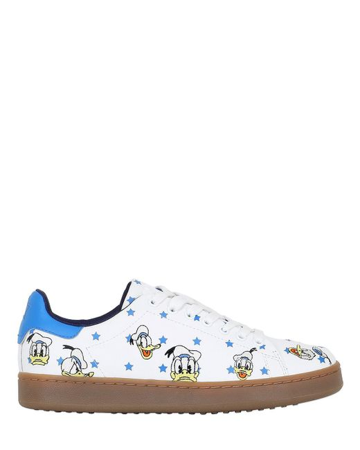 MOA - White Donald Duck Embroidered Leather Sneakers for Men - Lyst