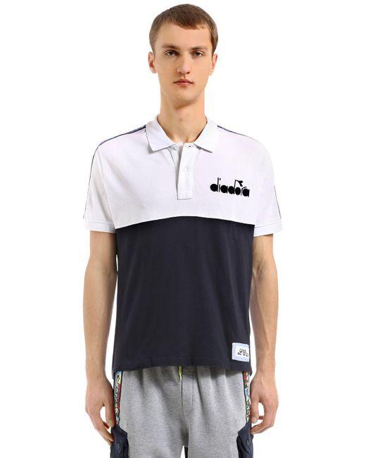 Diadora - Blue Lc23 Color Block Twill Polo Shirt for Men - Lyst