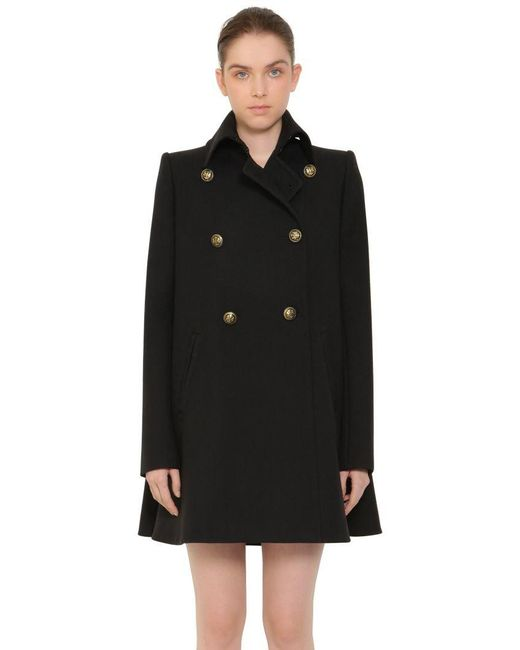 Alexander McQueen - Black Military Wool Peacoat W/ Cape Back - Lyst