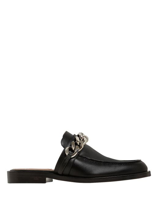 Givenchy | Black 20mm Chained Leather Mules | Lyst