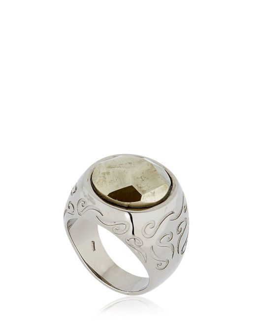 MARCO DAL MASO - White Ara Engraved Ring With Pyrite for Men - Lyst