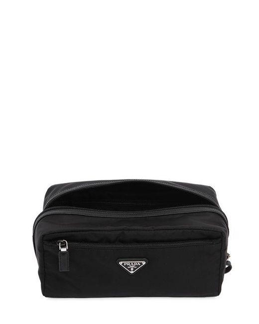 25533e501e3 ... Prada - Black Nylon Toiletry Bag W  Leather Details for Men - Lyst ...