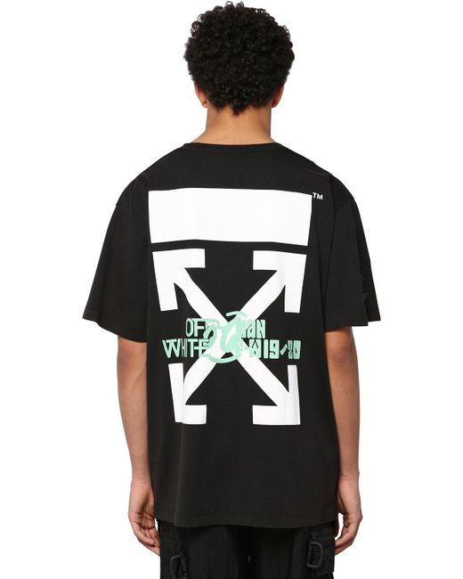 Off-White c/o Virgil Abloh Black Oversize Waterfall Print Cotton T-shirt for men