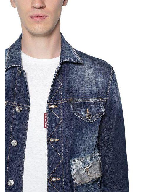 c92ea6658a100c ... DSquared² - Blue Cotton Denim Jacket W  Contrasting Hem for Men - Lyst  ...