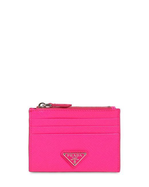 Prada - Pink Triangle Logo Saffiano Card Case - Lyst