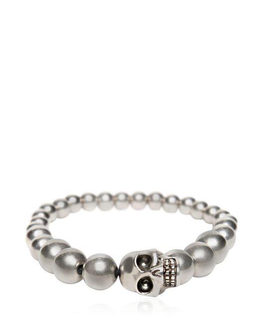 Alexander McQueen - Metallic Skull Silver Finish Ball Bracelet for Men - Lyst