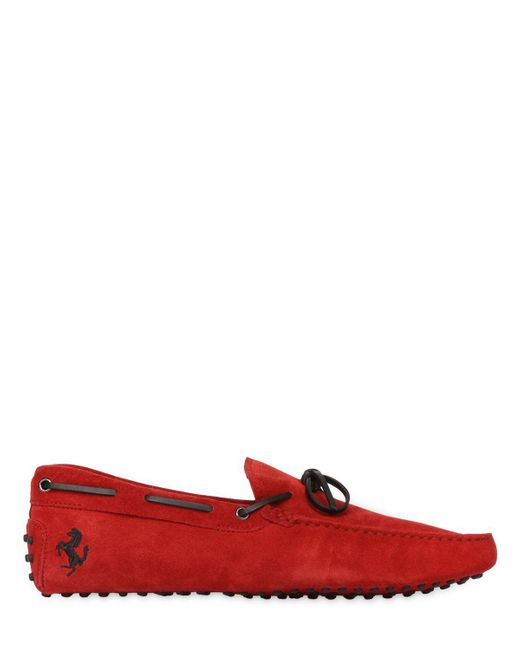 Tod's | Red New Gommini Suede Leather Driving Shoes for Men | Lyst