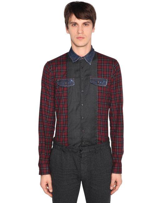 DSquared² - Multicolor Carpenter Patchwork Cotton Check Shirt for Men - Lyst
