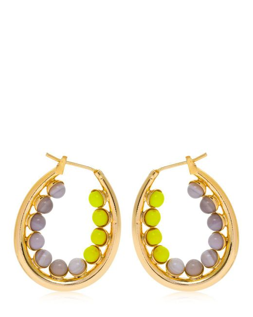 Anton Heunis - Yellow Color Block Oval Hoop Earrings - Lyst