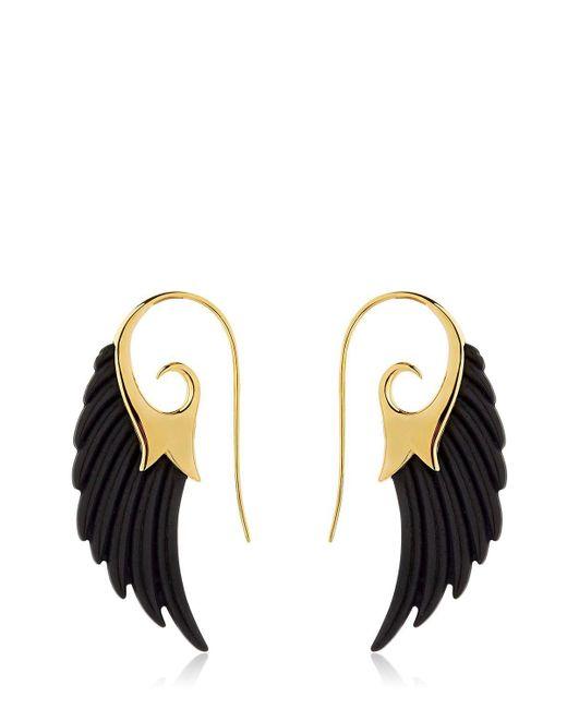 Noor Fares - Metallic Fly Me To The Moon Wing Ebony Earrings - Lyst