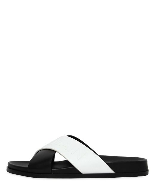 Balmain - Black Bi-colour Crossover Strap Slides - Lyst