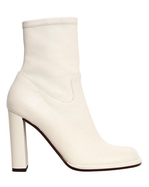Mulberry - White 100mm Leather Ankle Boots - Lyst