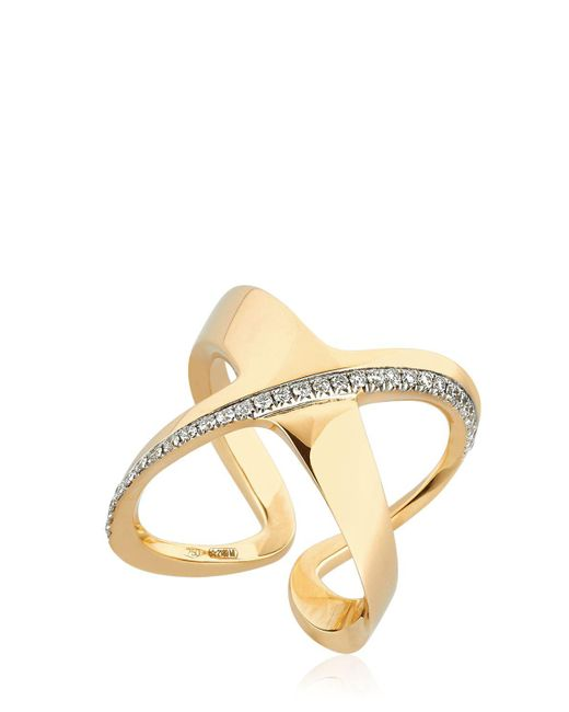 Antonini - Metallic Siracusa Crisscross Diamond Ring - Lyst