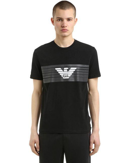 EA7 - Black Train Logo Printed Jersey T-shirt for Men - Lyst