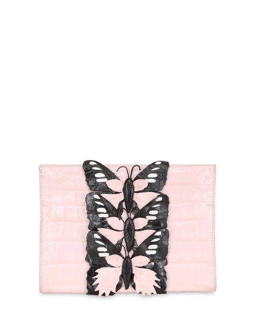 Nancy Gonzalez | Pink Caiman Bag W/ Butterfly Appliqués | Lyst