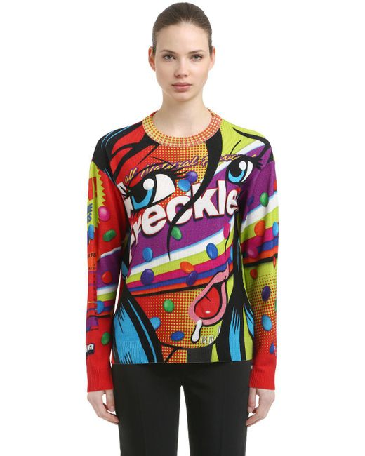 Moschino - Multicolor Eyes Oversize Printed Wool Knit Sweater - Lyst