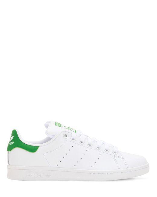 lyst adidas originals stan smith og leder turnschuhe in weiß für männer