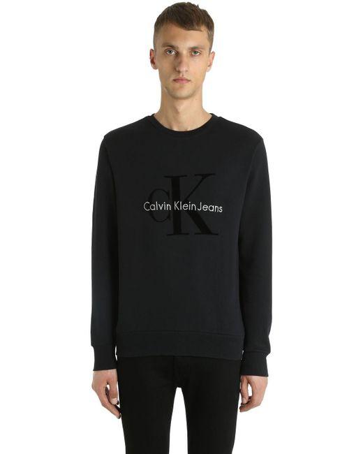 Calvin Klein Jeans | Black Logo Flocked Cotton Sweatshirt for Men | Lyst