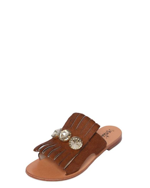 Venti 12 | Brown Embellished Ponyskin Leather Sandals | Lyst