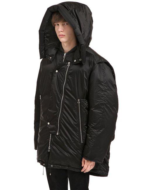 OAMC - Black Oversized Hooded Nylon Down Jacket for Men - Lyst