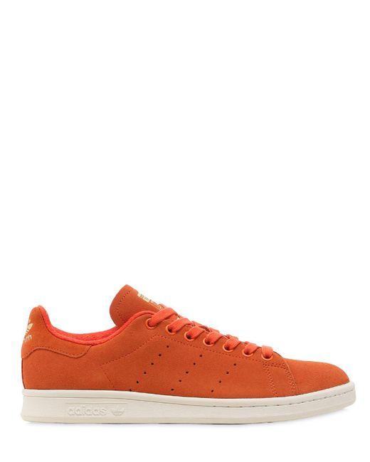 Adidas Originals - Orange Stan Smith Suede Sneakers for Men - Lyst