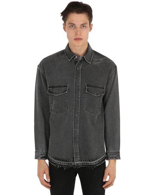 The Kooples - Gray Oversized Hemd Aus Denim Mit Rissen for Men - Lyst