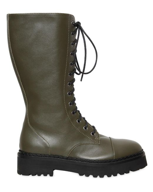 Moschino - Green 40mm Leather Combat Boots - Lyst