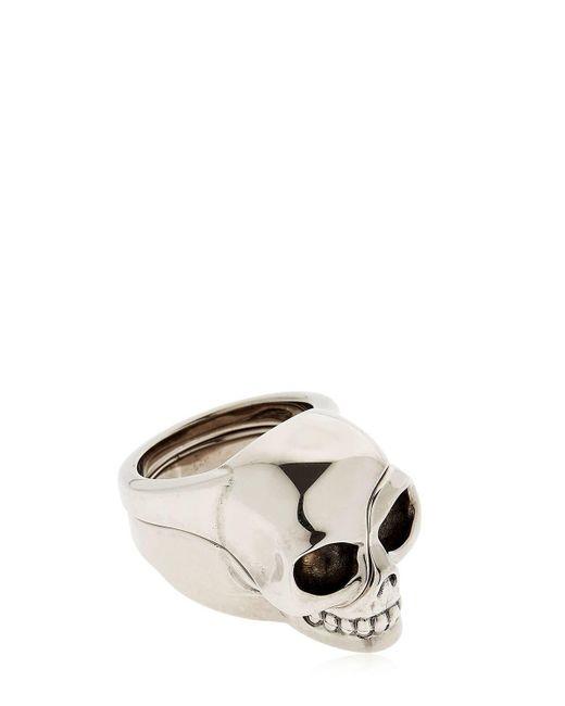 Alexander McQueen - Metallic Divided Skull Silver Plated Brass Ring for Men - Lyst