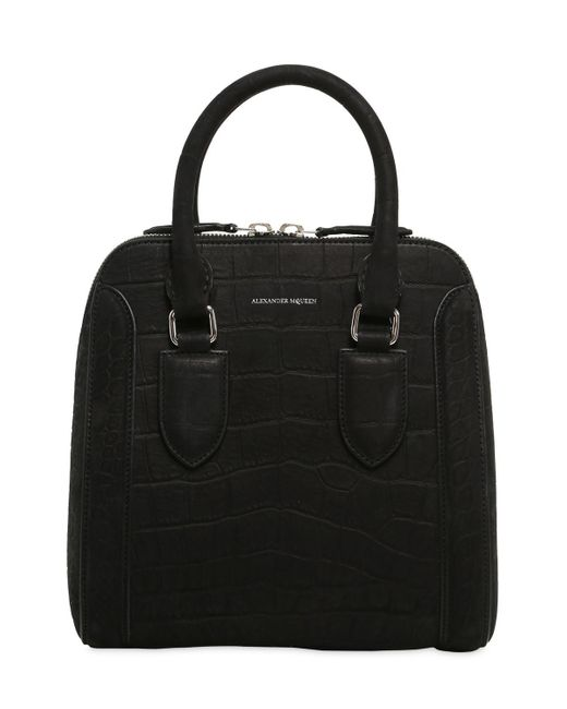 Alexander McQueen | Black Medium Heroine Croc Embossed Nubuck Bag | Lyst